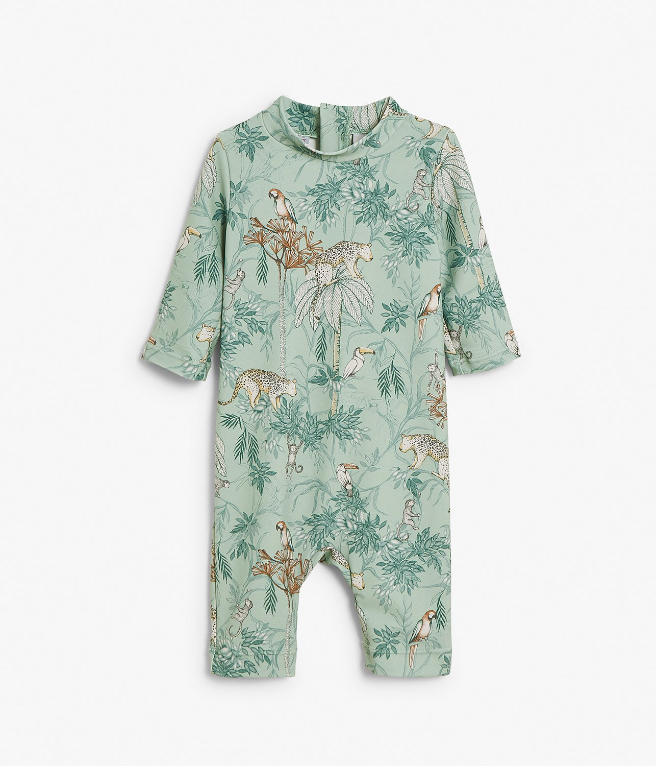 Baby green & jungle print UV-romper