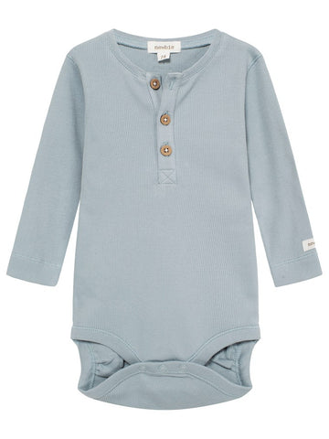 newbie baby Body with buttons long sleeves blue