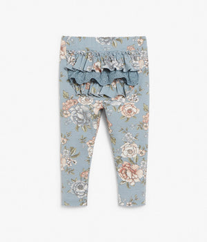 Baby blue floral leggings with frilled ankles