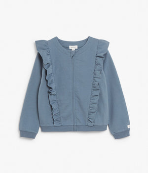 Kids blue cardigan with ruffles