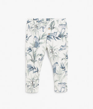 Baby white jungle printed leggings