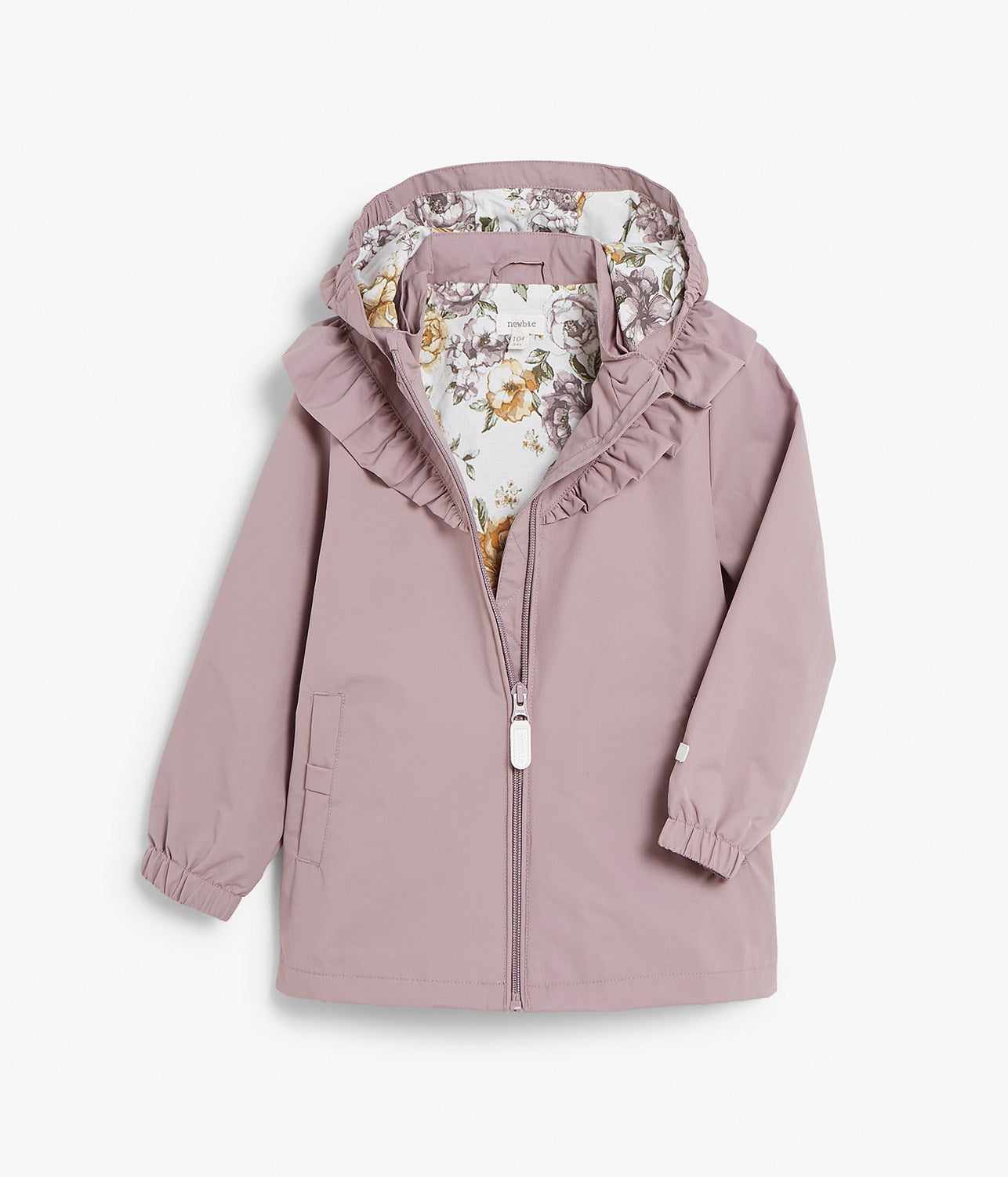 Kids purple water repellent ruffle jacket