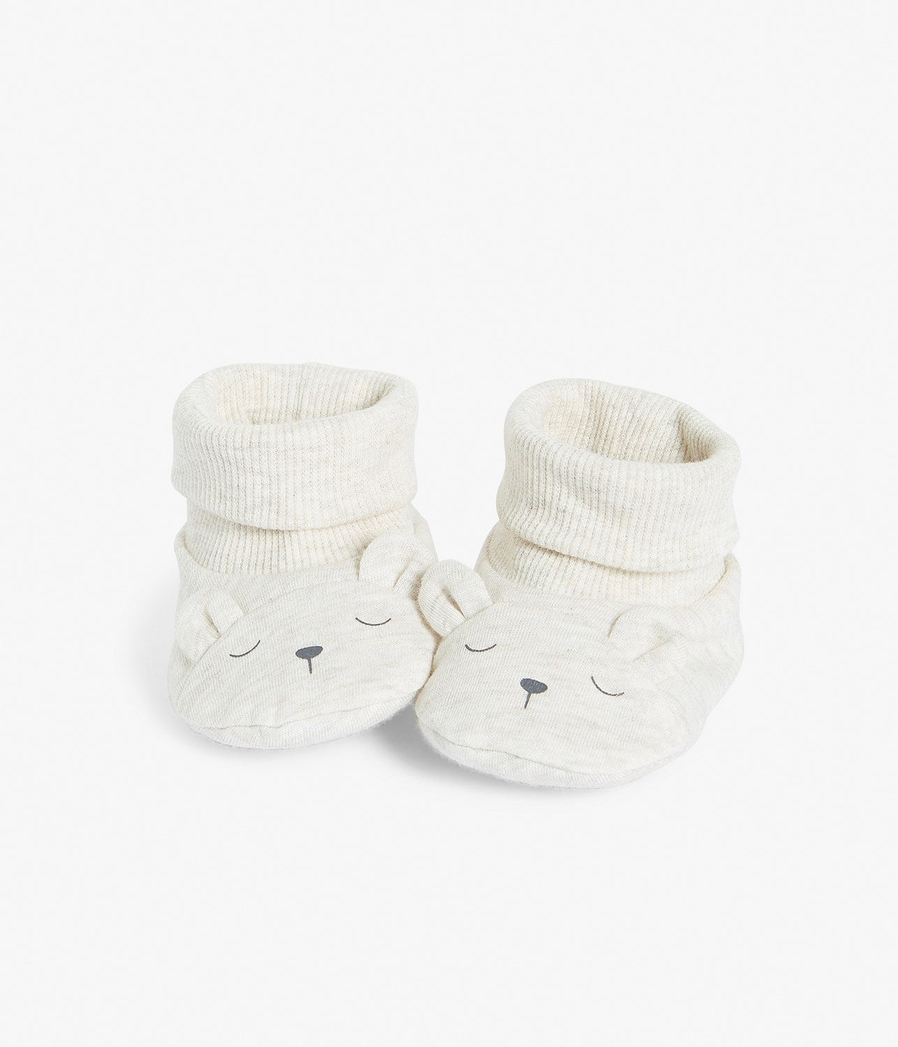 Baby booties with bear face
