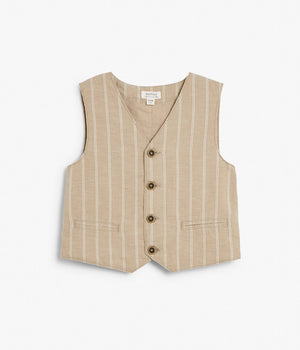 Kids beige & white striped button up vest
