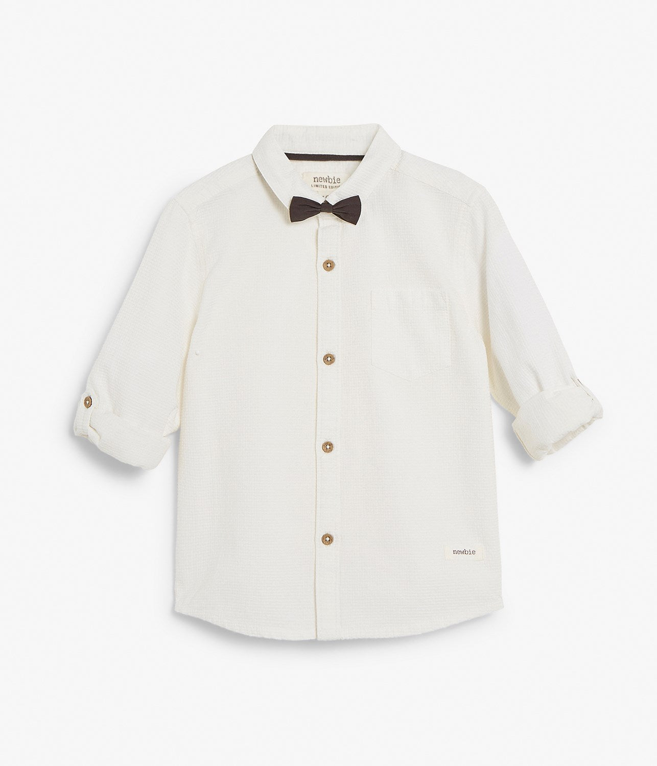 Kids white shirt with tie bow