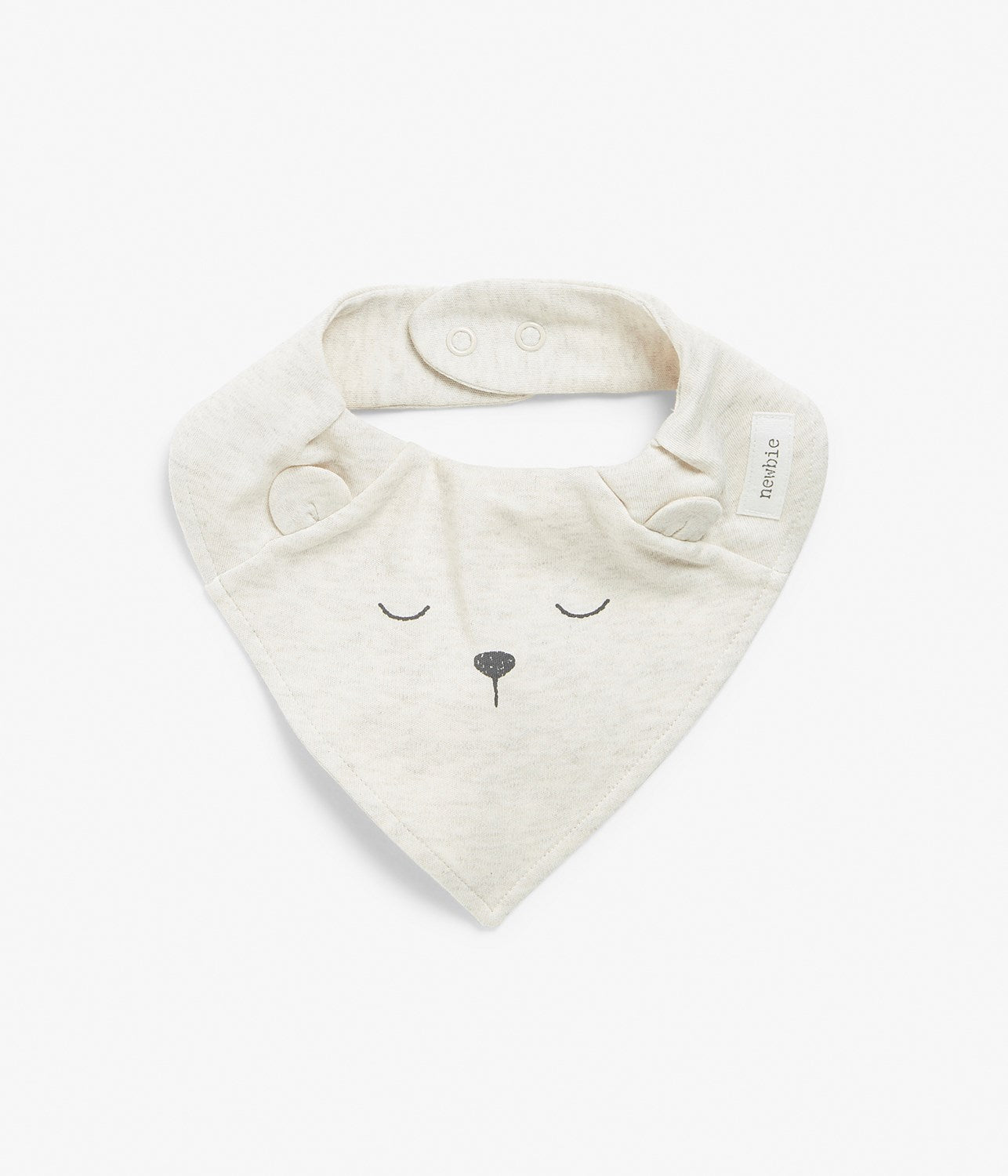 Baby beige bib with animal face