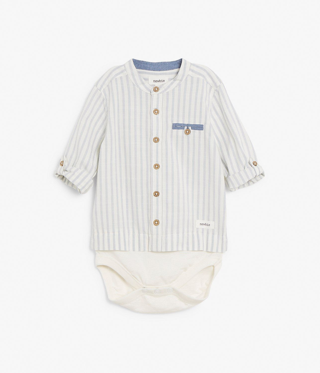 Baby blue striped shirt with body