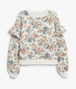 Womens white floral print sweater