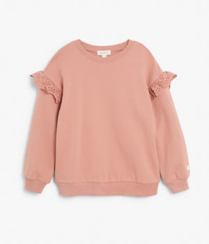Kids pink sweater with frills