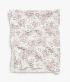 White & purple floral print blanket