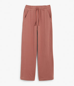 Womens rust wide leg drawstring trousers