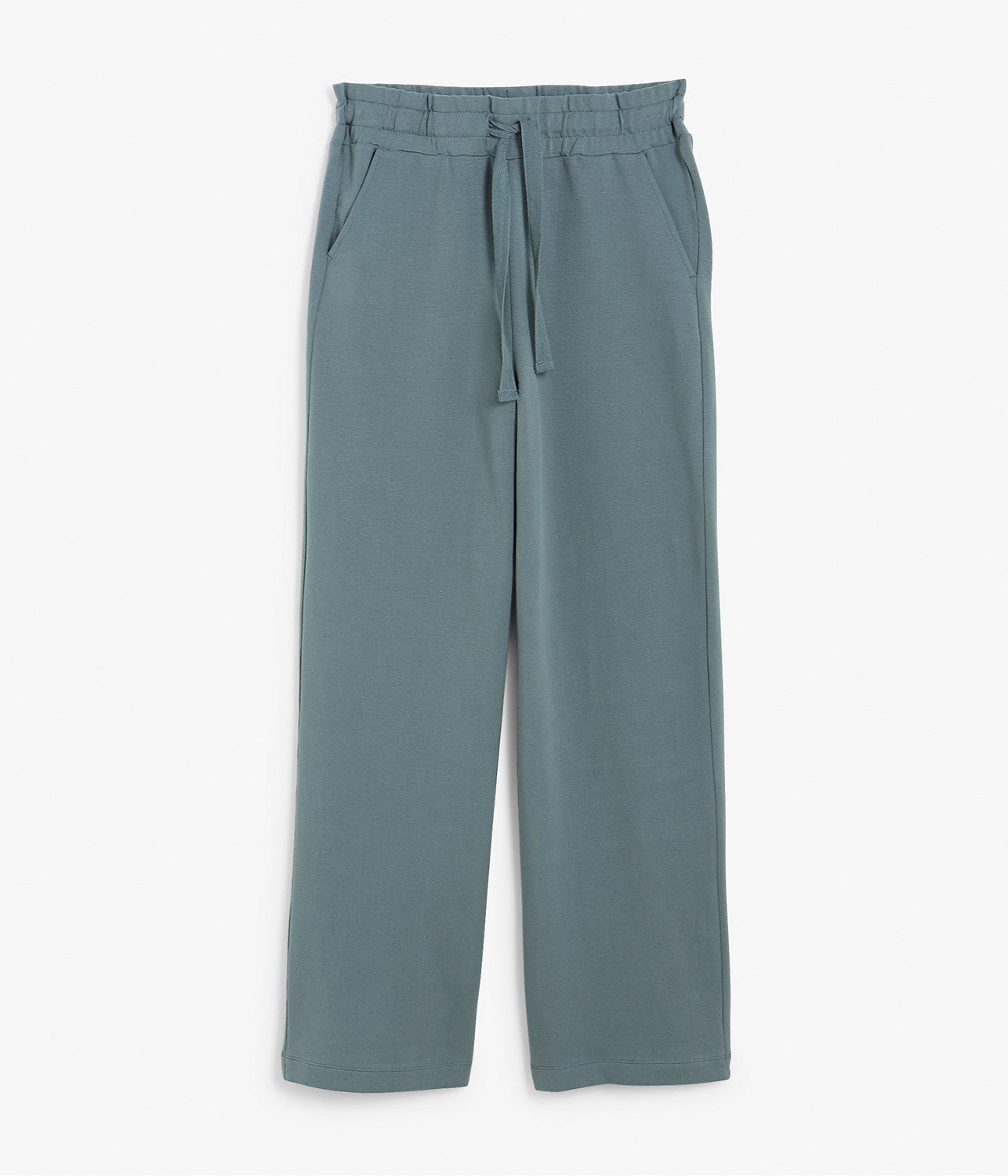 Womens teal wide leg drawstring trousers