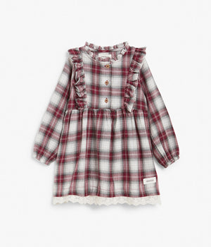 Baby red & white check pattern dress