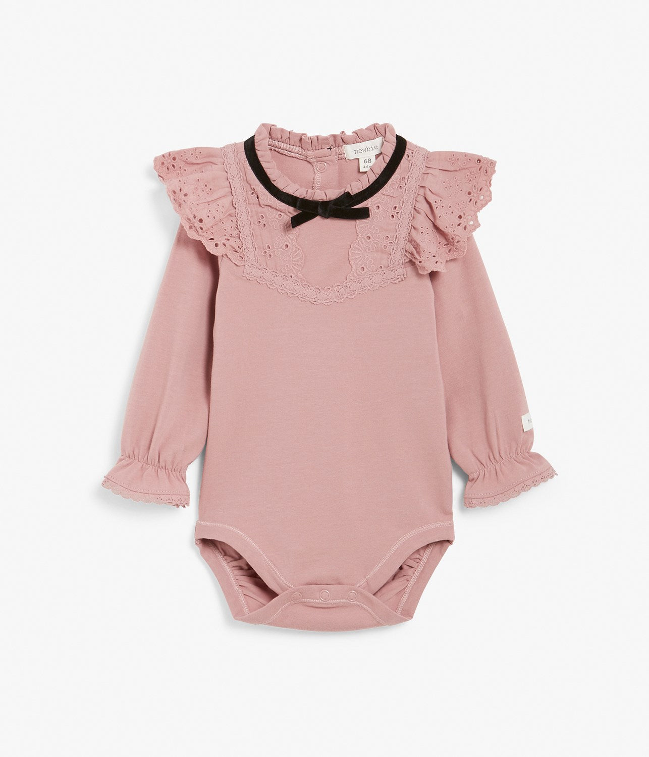 Baby pink body with lace frills and neck bow