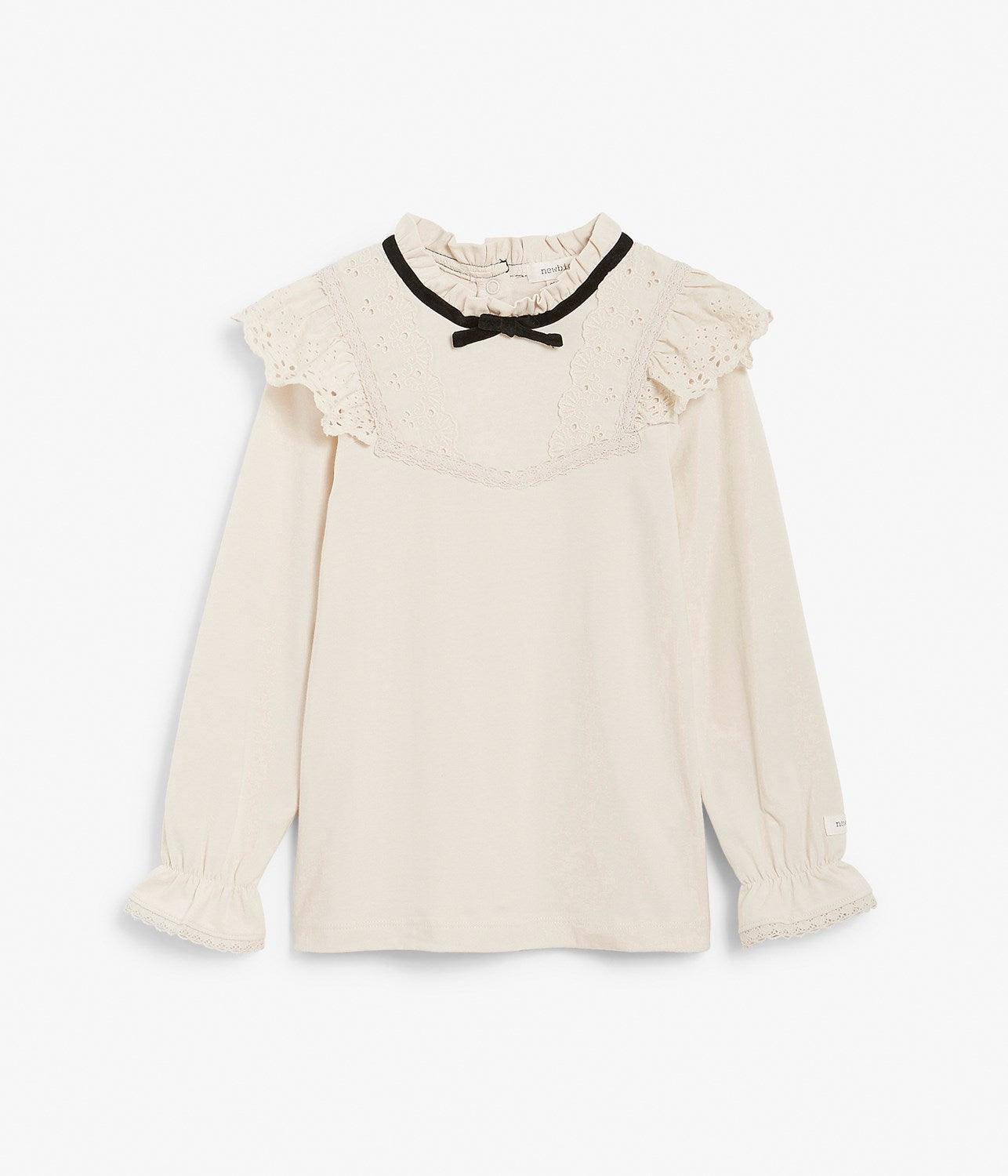 Kids cream top with lace ruffles & neck bow