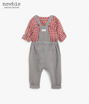 Baby grey overalls with red checkered shirt