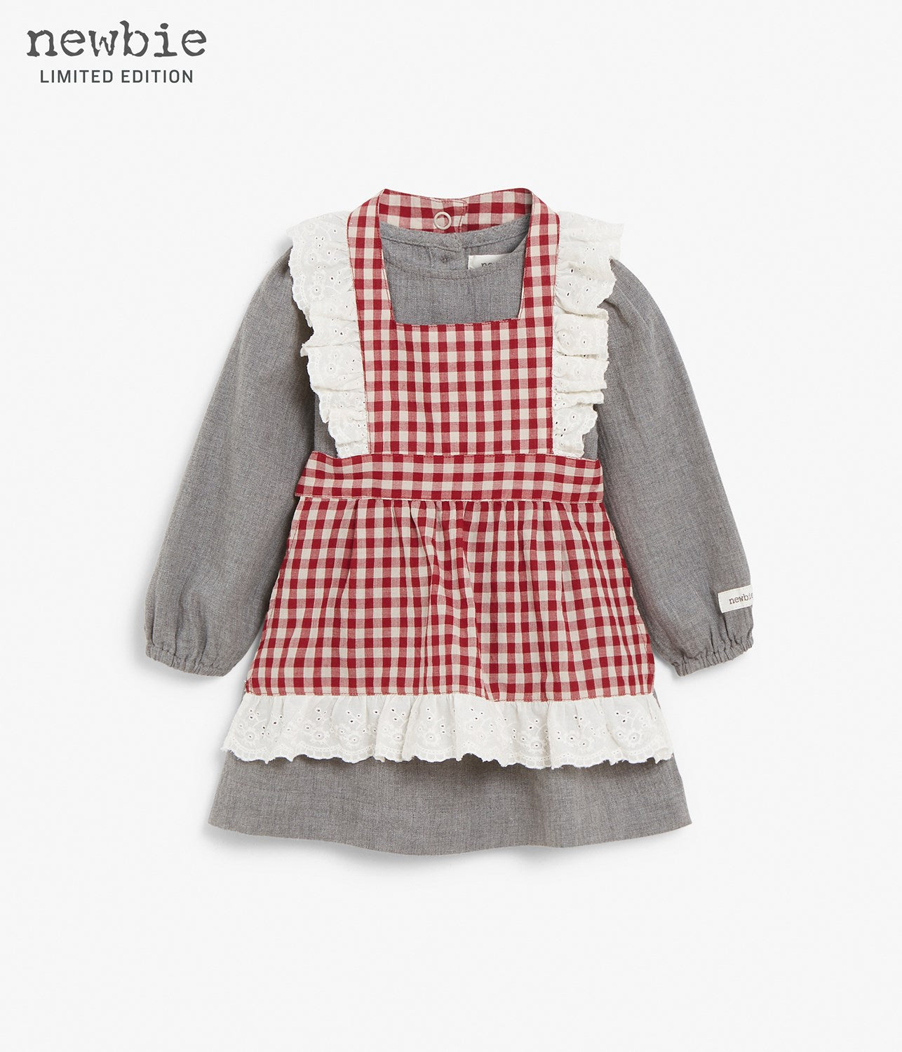Baby grey dress with red checkered apron and frills