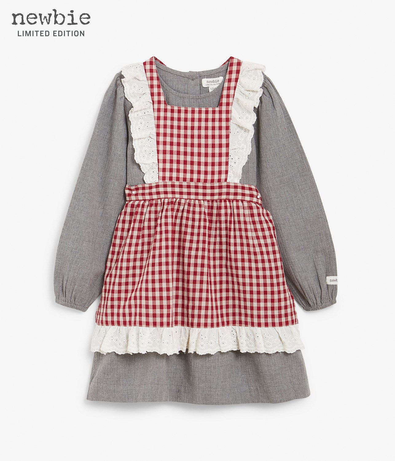 Kids grey dress with red checkered apron and frills