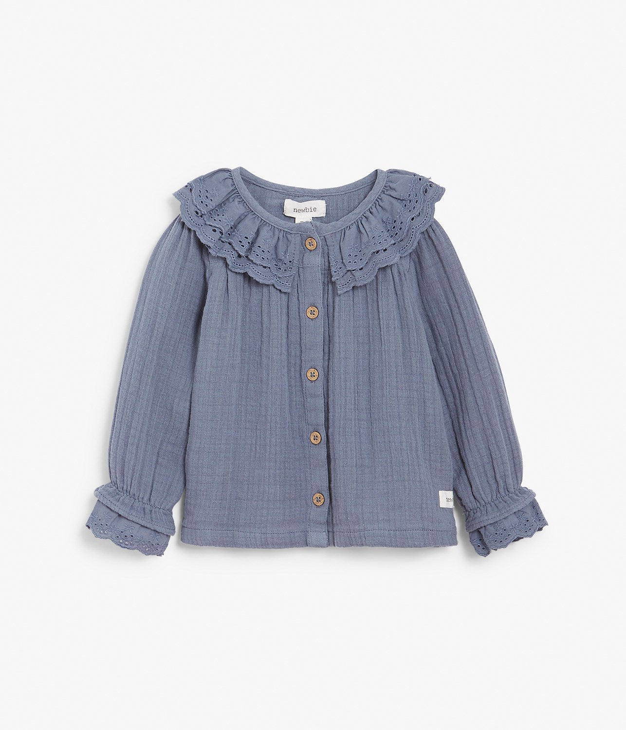 Baby blue crinkle top with frills