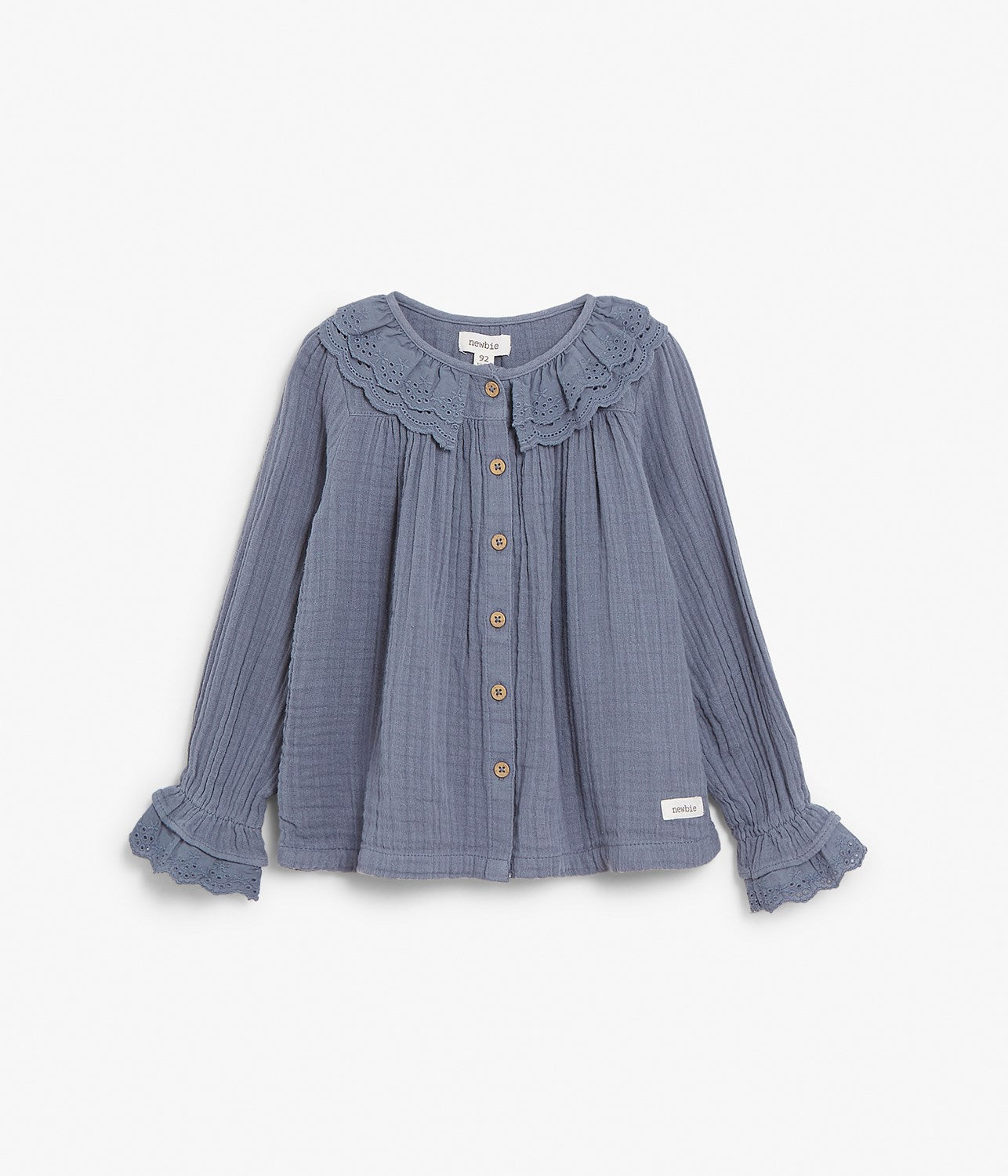 Kids blue crinkle top with frills