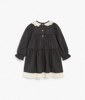 Baby black patterned dress with lace