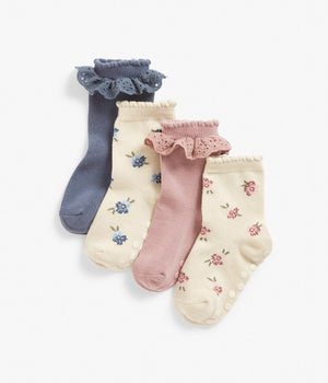 Kids blue & pink floral print socks with frills 4-pack