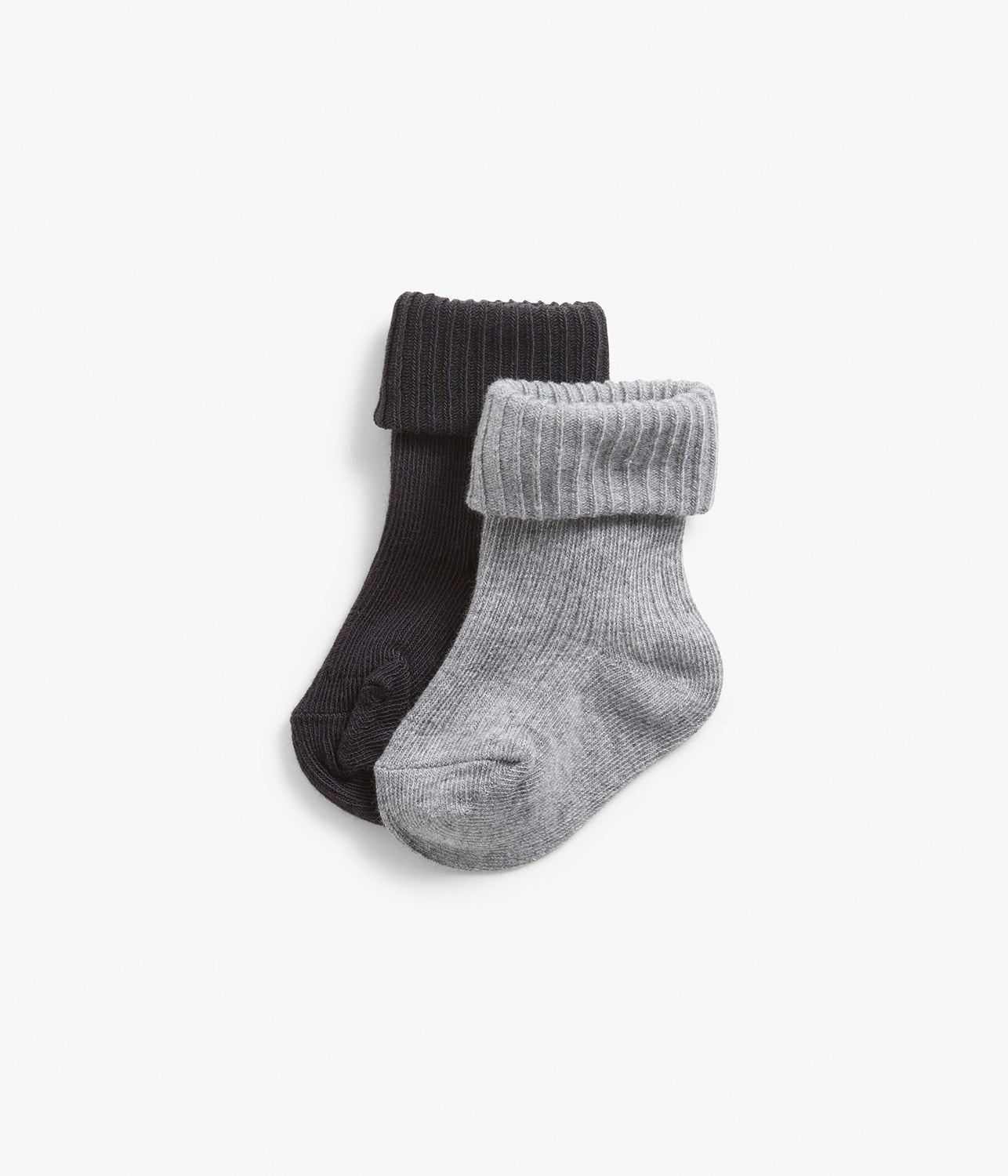 Baby black & grey ribbed socks with folded cuffs