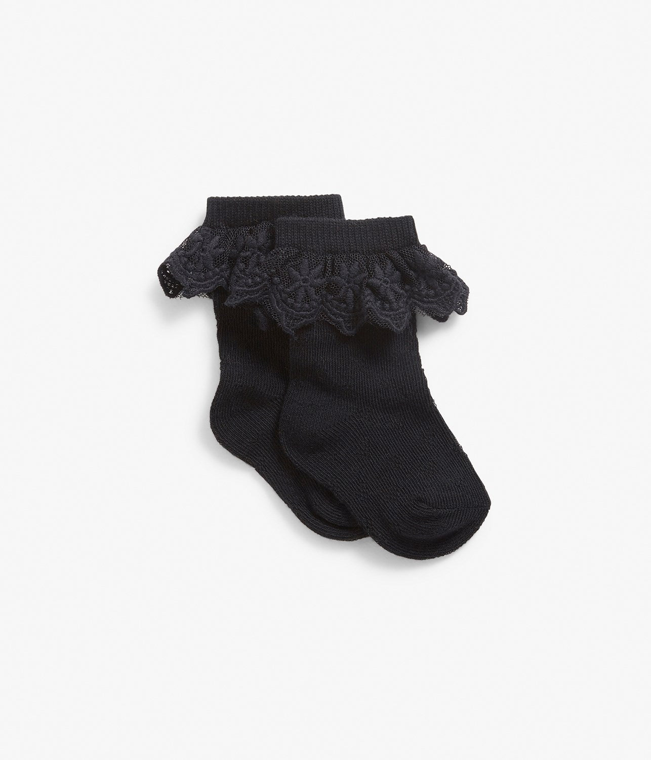 Baby black socks with lace frills