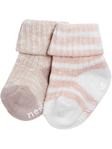 Anti-slip socks with folded cuffs