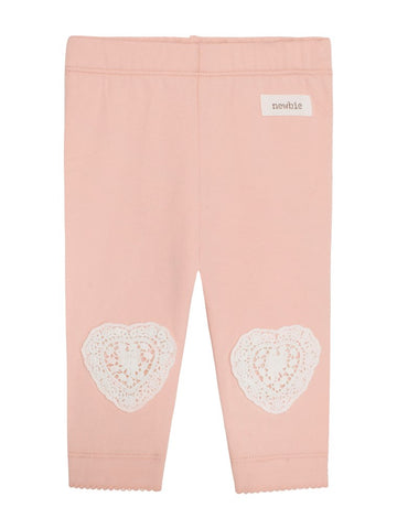 newbie kids Leggings heart embroidery organic cotton pink