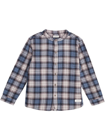 Baby shirt with blue tartan print