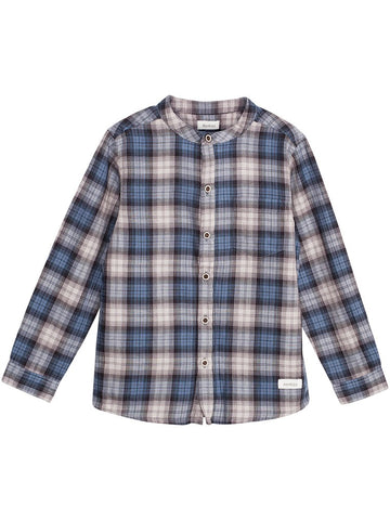 Shirt with blue tartan print