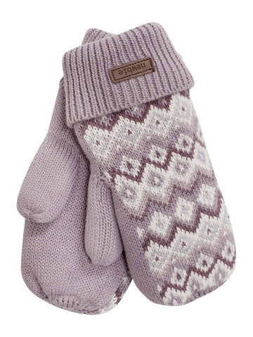 newbie kids Mittens cabling detail lilac organic cotton