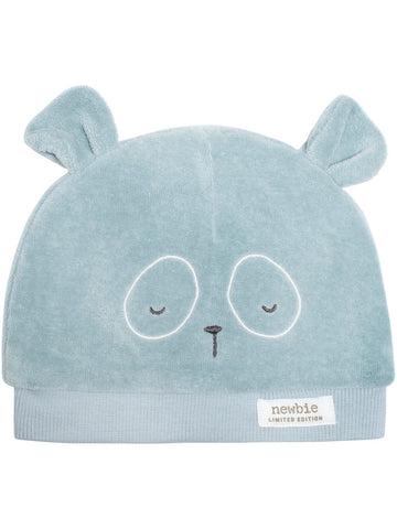 newbie baby Hat with bear ears blue organic cotton