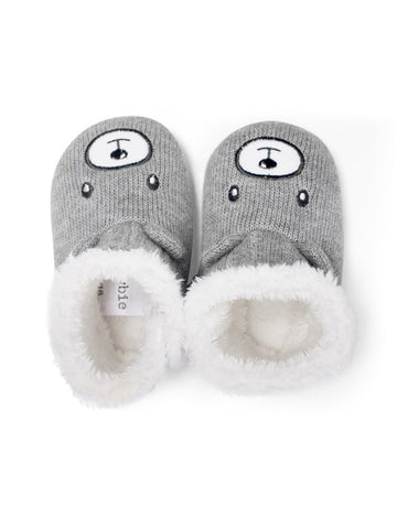 newbie baby Booties bear faces slippers organic cotton grey