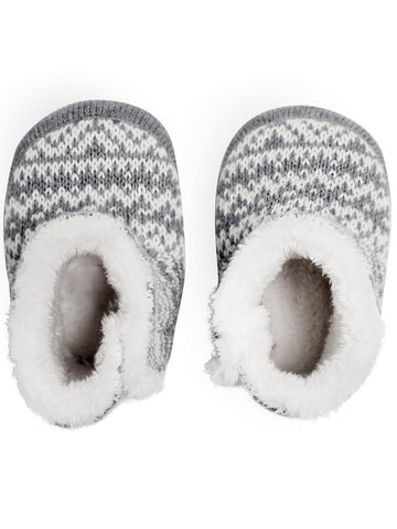 newbie baby Booties slippers organic cotton grey white
