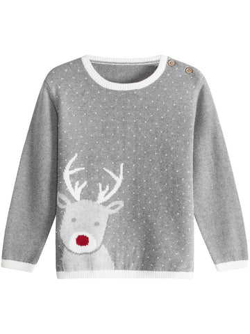 newbie kids Jumper with Christmas reindeer print grey organic cotton