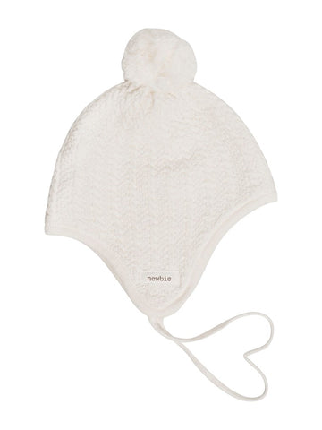 newbie baby hat print pompom  organic cotton white