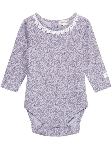 newbie baby Body with lace organic cotton lilac