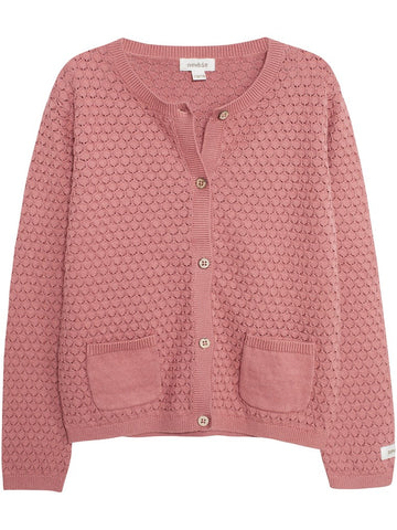 8381fa84dc5 newbie kids Cardigan cable knit pink organic cotton