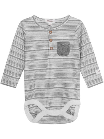 newbie baby Body pocket striped print organic cotton grey long sleeves
