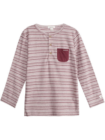 Top with stripes and dark red pocket
