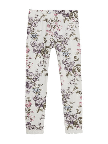 Leggings floral print newbie kids white organic cotton