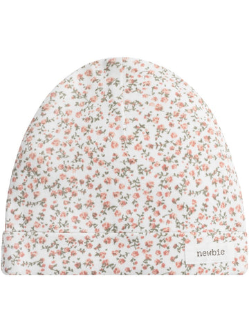 newbie baby hat floral print organic cotton white