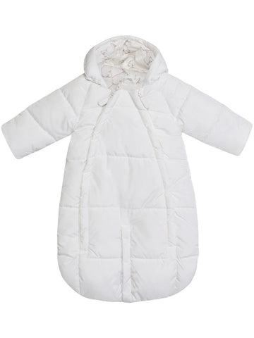 Baby pramsuit with rabbit-patterned lining