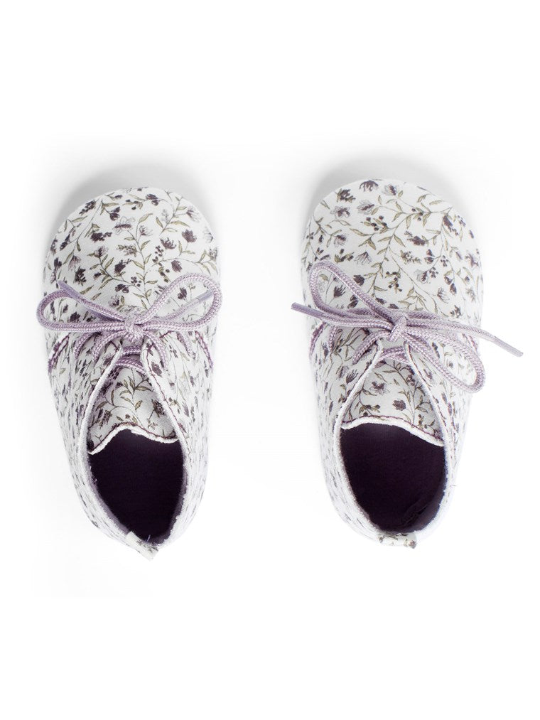 newbie baby Lace up shoes floral print organic cotton