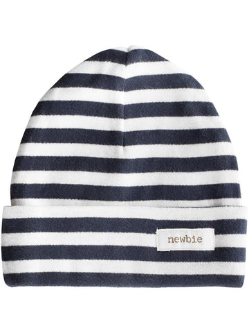 newbie baby hat stripes print blue organic cotton
