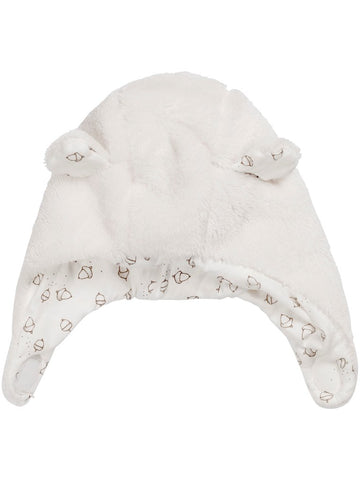 newbie baby Hat with bear ears white organic cotton