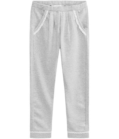Sweatpants with lace trim