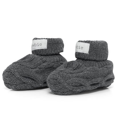 Baby cable knit booties